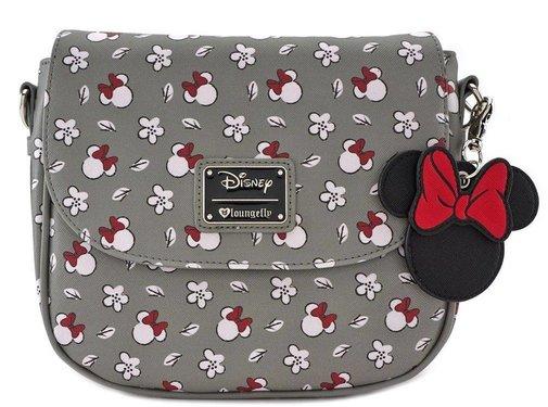Loungefly Loungefly x Minnie Head/Flower Print Grey Crossbody Bag / Handtas