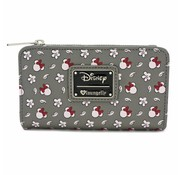 Loungefly Loungefly x Minnie Head/Flower Print Grey Wallet / Portemonnee