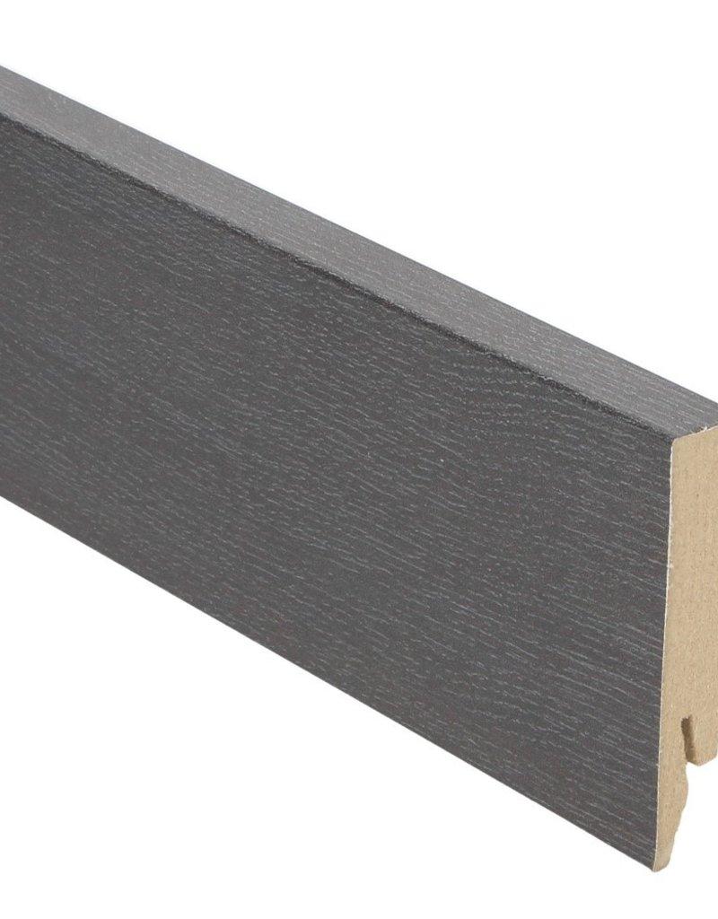 zwart geolied rechte hoge plint voor laminaat, pvc en parket