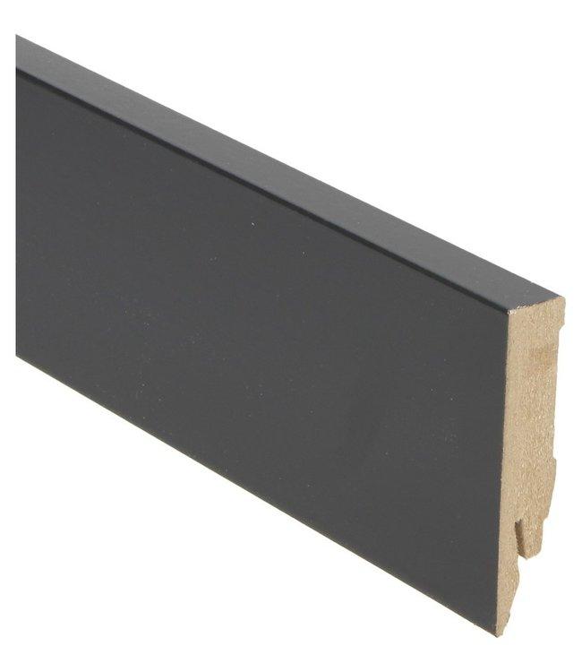 zwart hoogglans rechte hoge plint voor laminaat, pvc en parket