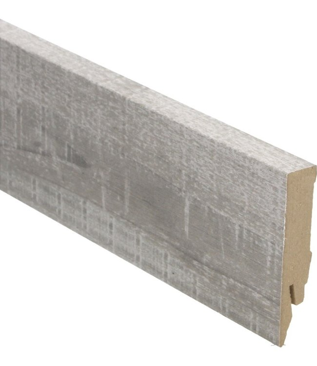 Eiken grijze met zaagsnede rechte hoge plint voor laminaat, pvc en parket