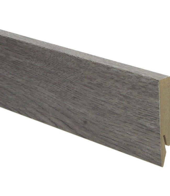 Eiken zilvergrijze rechte hoge plint voor laminaat, pvc en parket