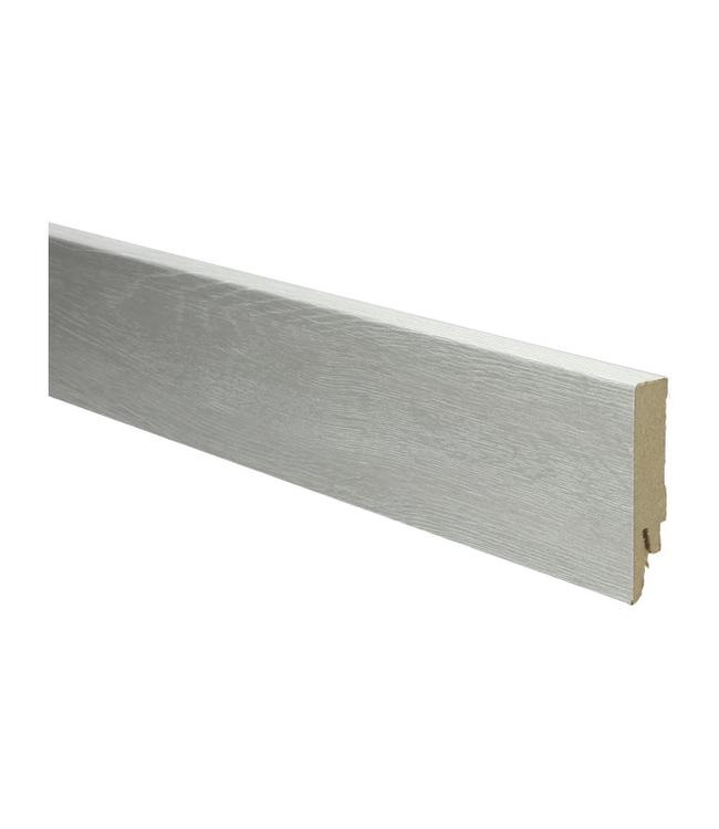 Eiken beige witte rechte hoge plint voor laminaat, pvc en parket