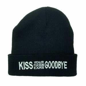 BEANIE - Kiss Your Fuckin Ears Goodbye, white embroidered