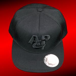 snapback cap 3D - zwart op zwart