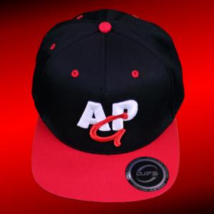 snapback cap 3D - rood-wit op zwart/rood