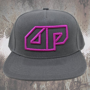 Snapback CAP - 3D embroidered Deepack logo - magenta on grey