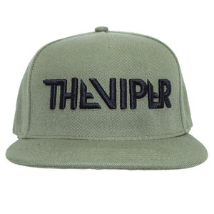 THE VIPER CAP snapback- Zwart op armygreen 3D geborduurd
