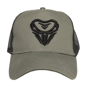 CAP 2 color - Black on armygreen 3D embroidered