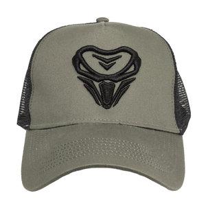 CAP 2 kleuren - Zwart op armygreen 3D geborduurd