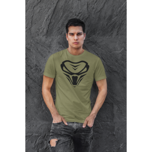 T-shirt, Armygreen, logo in zwart