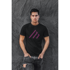 COMBINED MUSIC T-shirt black with MAIN logo in purple