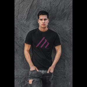 T-shirt zwart met MAIN logo in paars