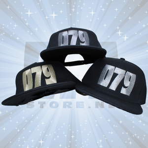 079 ZOETERMEER BLACK SNAPBACK CAP - 079 embroidered in SILVER, GOLD OR BRONZE