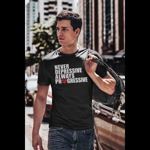 T-shirt black, ALWAYS PROGRESSIVE with white/red print