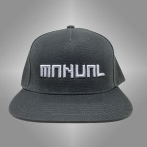 MANUAL MUSIC CAP snapback - White on grey 3D embroidered