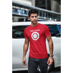 T-shirt FREQ. CUTOFF rood, witte opdruk