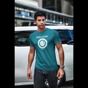 T-shirt FREQ. CUTOFF diva blauw, witte opdruk