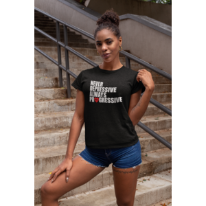 MANUAL MUSIC T-shirt black female, ALWAYS PROGRESSIVE with white/red print
