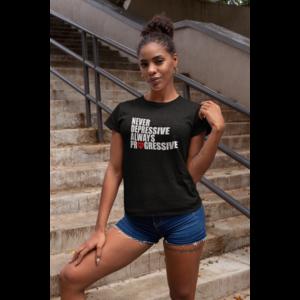 T-shirt zwart dames, ALWAYS PROGRESSIVE met wit/rood opdruk