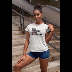 T-shirt wit dames, ALWAYS PROGRESSIVE met zwart/rood opdruk