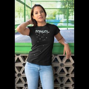 T-shirt black female, logo MANUAL (blocks) in white