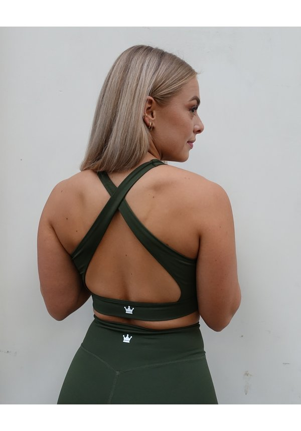 ARMY GREEN CROSS BACK BRA