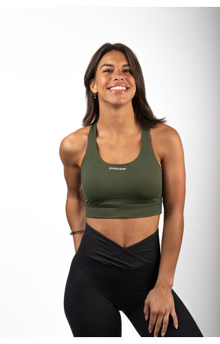 Gymchamp sportswear CROSS BACK SPORTS BRA - ARMY GREEN