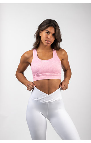 Gymchamp sportswear HEATHER CROSS BACK SPORTS BRA - BLUSH PINK
