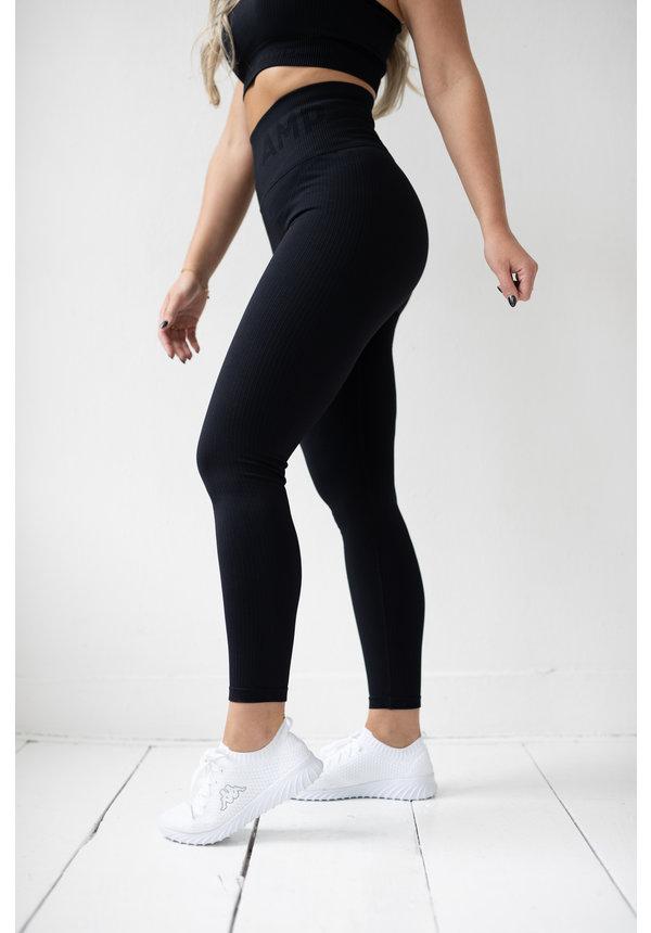 PRE ORDER - RIBBED SEAMLESS LEGGING - BLACK