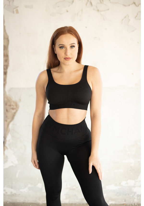 RIBBED SEAMLESS SPORTS BRA - BLACK