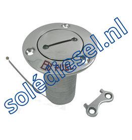 078220 | onderdeel |  RVS Dekvuldop 'Fuel', Slangaansluiting Ø38mm, Flens Ø76mm, 0º model