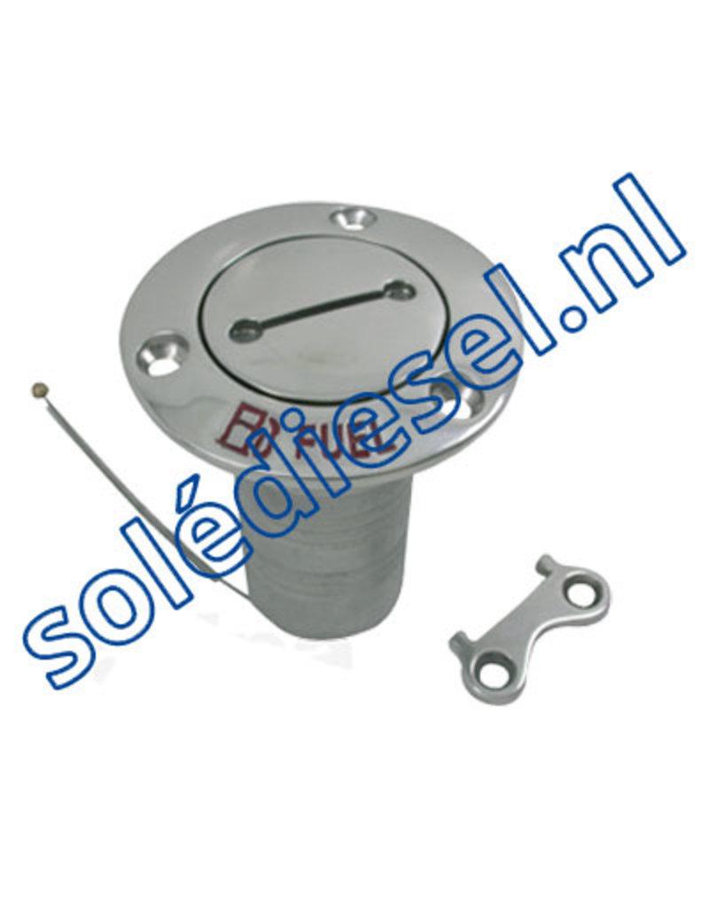 078220   parts number    Stainless Steel Deck Entries 'Fuel', hose connection Ø38mm, Flange Ø76mm, 0º model
