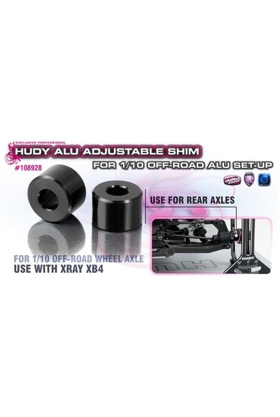 ALU ADJ. SHIM FOR 1/10 OFF-ROAD ALU SET-UP - XRAY XB4 (2), H108928