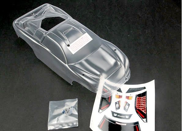 Body, Nitro Rustler (clear, requires painting)/window, grill, TRX4412-1