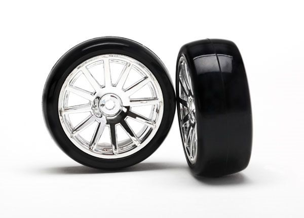 12-Sp Chrm Wheels, Slick Tires Tires & W, TRX7573-1