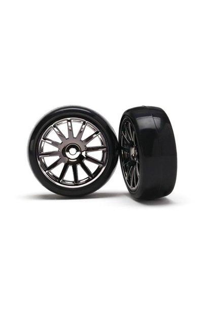 12-Sp Blk Wheels, Slick Tires Tires & Wh, TRX7573A