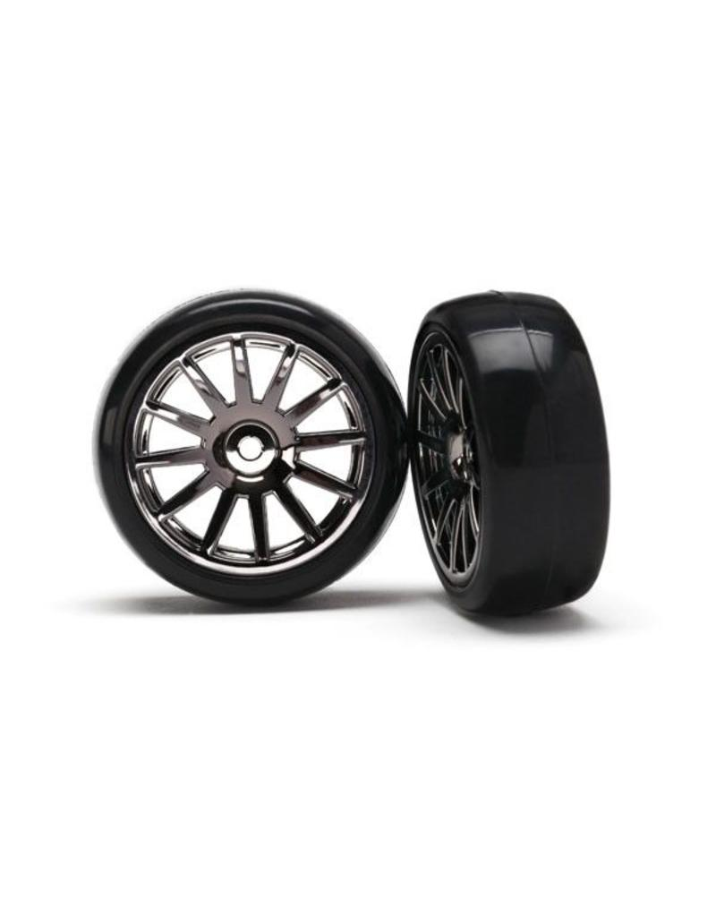 Traxxas 12-Sp Blk Wheels, Slick Tires Tires & Wh, TRX7573A