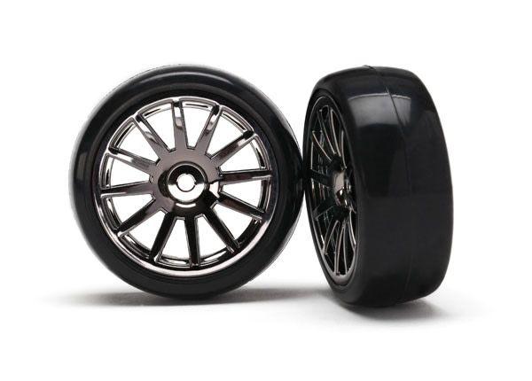 12-Sp Blk Wheels, Slick Tires Tires & Wh, TRX7573A-1