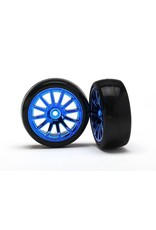 Traxxas 12-Sp Blue Wheels, Slick Tires Tires & W, TRX7573R