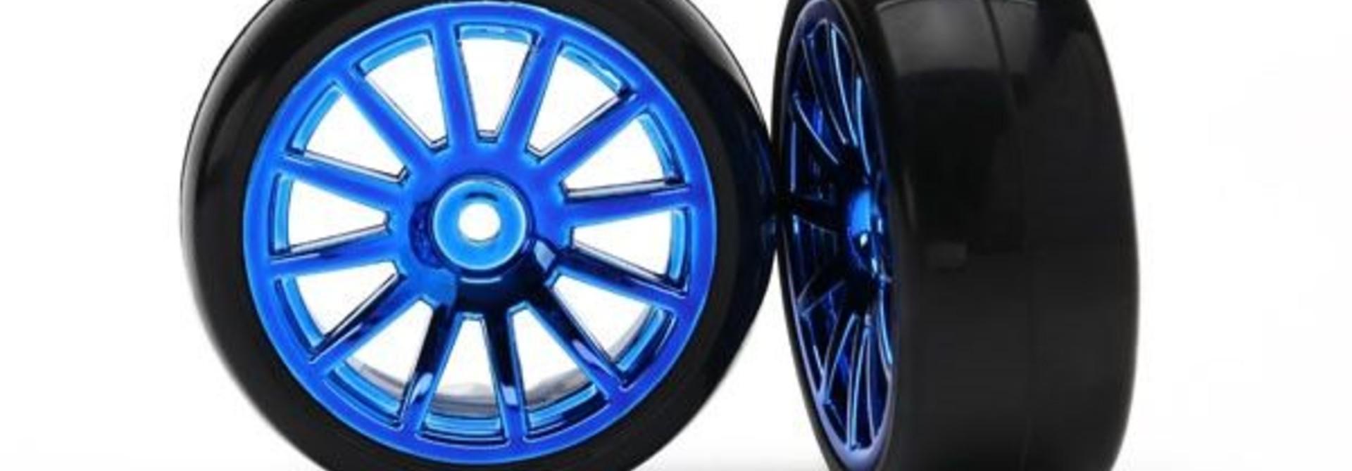 12-Sp Blue Wheels, Slick Tires Tires & W, TRX7573R