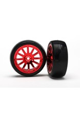 Traxxas 12-Sp Red Wheels, Slick Tires Tires & Wh, TRX7573X