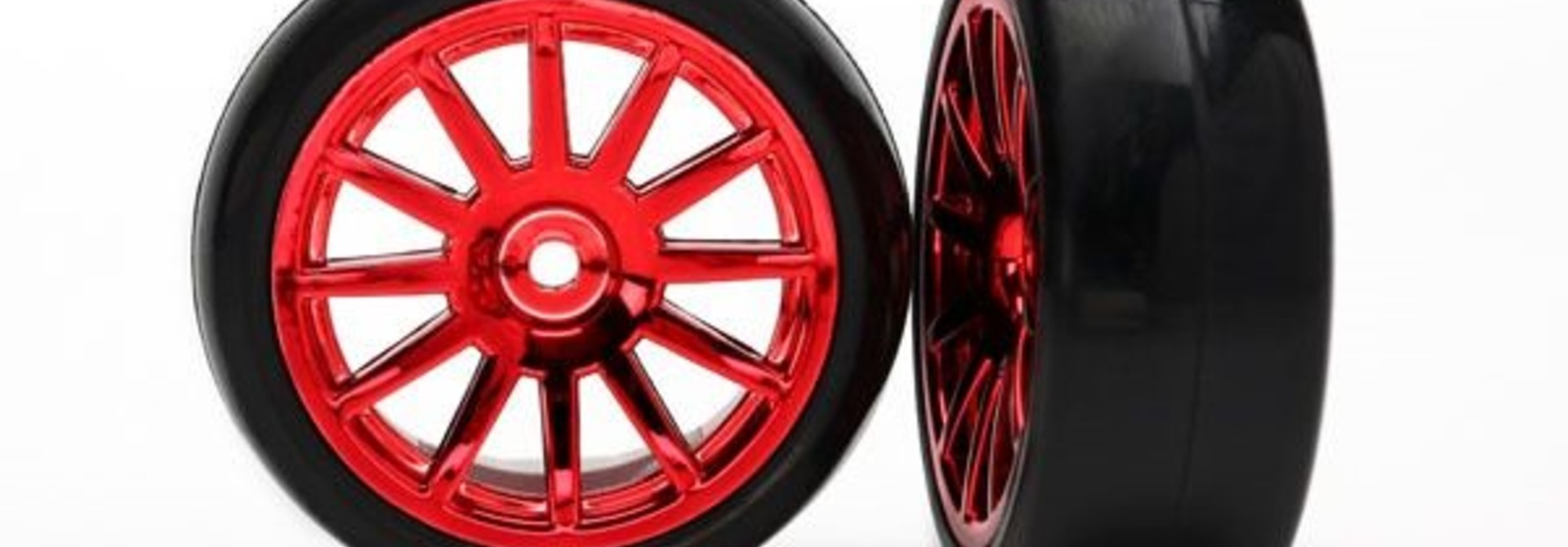 12-Sp Red Wheels, Slick Tires Tires & Wh, TRX7573X