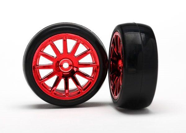 12-Sp Red Wheels, Slick Tires Tires & Wh, TRX7573X-1