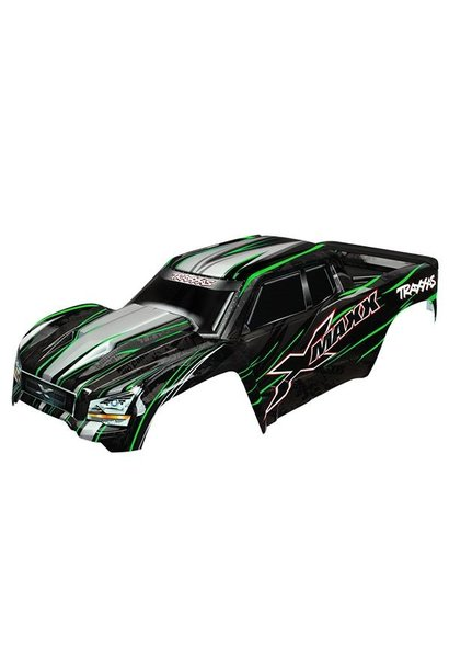 Body, X-Maxx, green (painted, decals applied) (assembled wit, TRX7711G