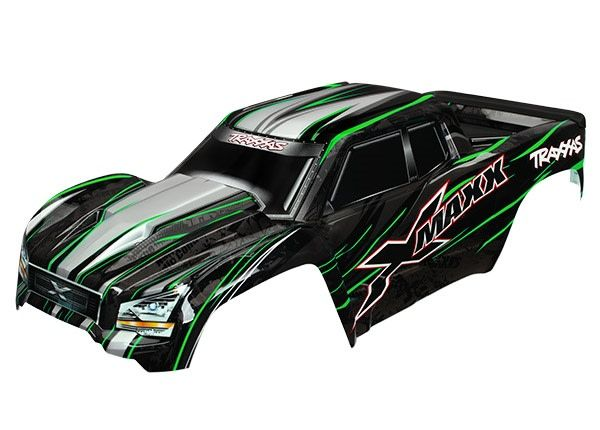 Body, X-Maxx, green (painted, decals applied) (assembled wit, TRX7711G-1