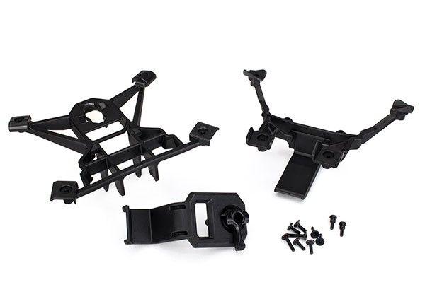 Body mounts, front & rear/ 3x15mm BCS (4)/ 3x12mm shoulder s, TRX7715-1