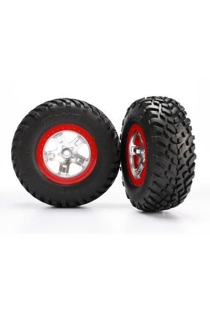 Tires & wheels, assembled, glued (SCT satin chrome red beadl, TRX5873R
