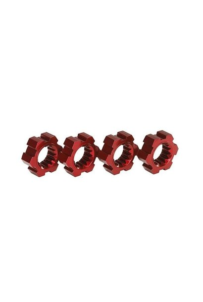 Wheel hubs, hex (2)/ hex clips aluminum (red-anodized) (4), TRX7756R