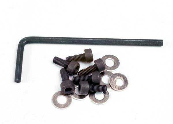 Backplate screws (3x8mm hex cap) (6)/washers (6)/ wrench, TRX1552-1